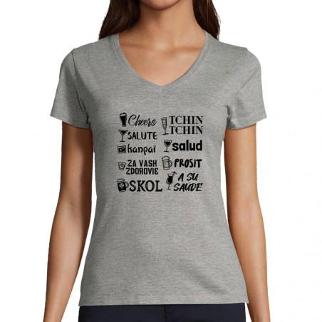 "T-shirt femme col V ""Tchin..."