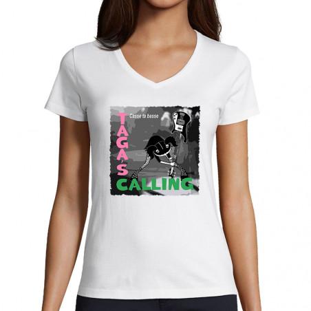 "T-shirt femme col V ""Taga's..."