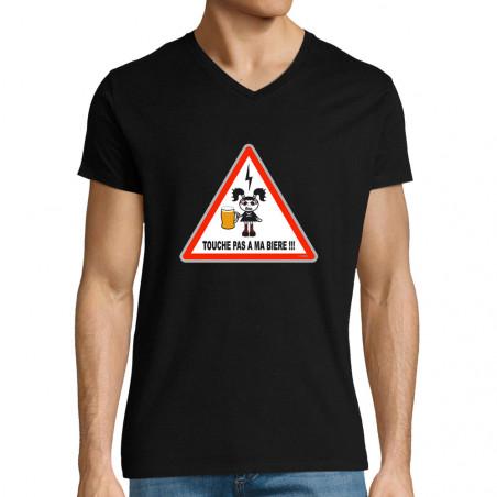 """T-shirt homme col V """"Touche..."""