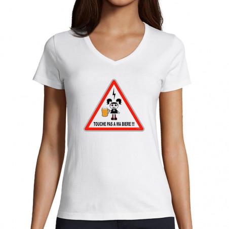 """T-shirt femme col V """"Touche..."""