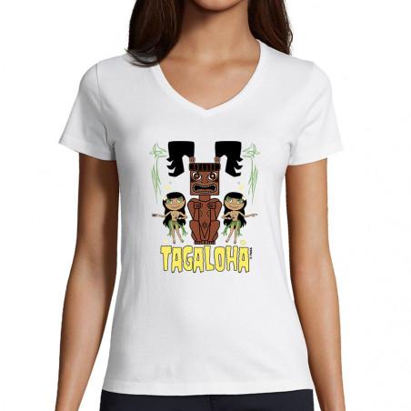 "T-shirt femme col V ""Tagaloha"""