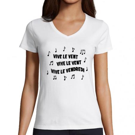 """T-shirt femme col V """"Vive..."""