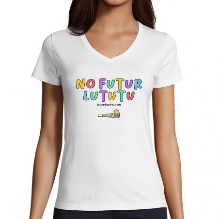 """T-shirt femme col V """"No..."""