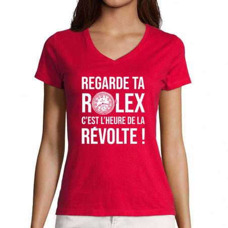 "T-shirt femme col V ""Heure..."