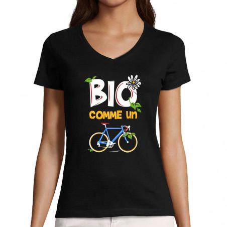 """T-shirt femme col V """"Bio..."""
