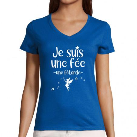 """T-shirt femme col V """"Fêtarde"""""""