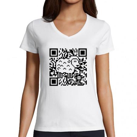 "T-shirt femme col V ""QR..."
