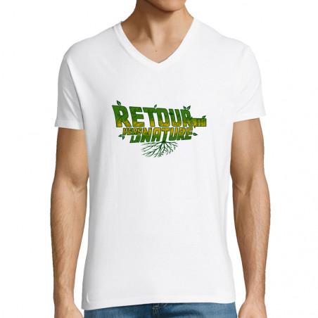 """T-shirt homme col V """"Retour..."""