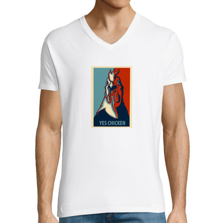 """T-shirt homme col V """"Yes..."""