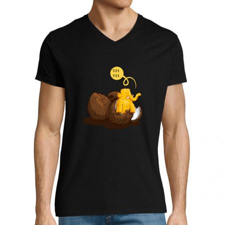 """T-shirt homme col V """"Piou..."""