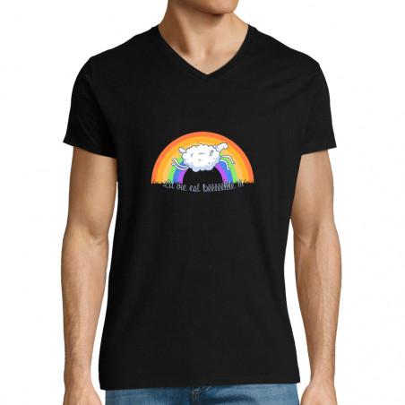 """T-shirt homme col V """"La vie..."""