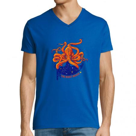 "T-shirt homme col V ""Night..."