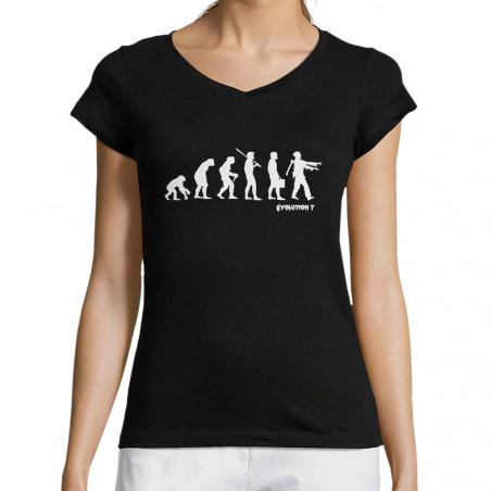 """T-shirt femme col V """"Zombie..."""