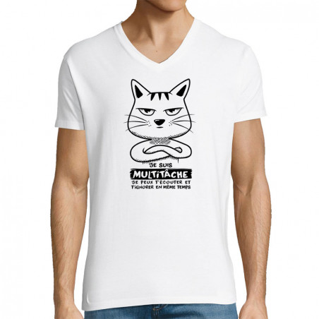 """T-shirt homme col V """"Chat..."""