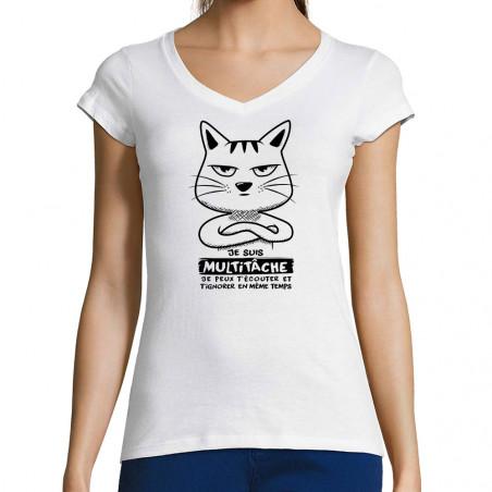 """T-shirt femme col V """"Chat..."""