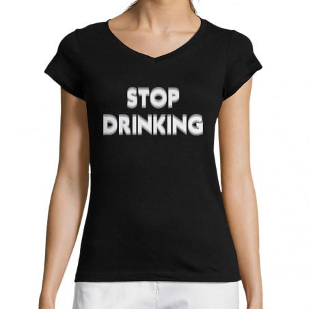 """T-shirt femme col V """"Stop..."""