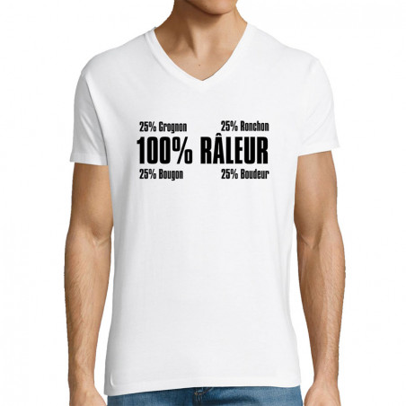 "T-shirt homme col V ""Râleur"""